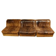 Vintage Leather Ds46 Modular Three Piece Sofa by De Sede, 1970s