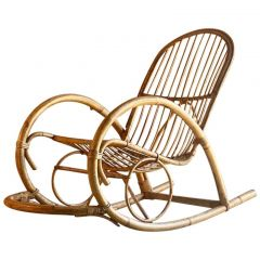 Rohé Noordwolde Bamboo and Rattan Rocking Chair, Netherlands, circa 1950s