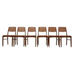 Set of Six Danish Mid-Century Teak and Tan Leather Dining Chairs '6'