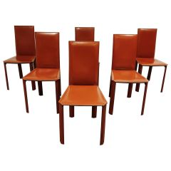 Red Leather Dining Chairs by De Couro Brazil, 1980s