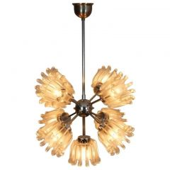 Mid-Century Chrome and Frosted Tulip Glass Chandelier by Doria
