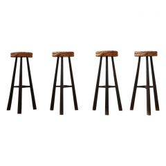 Audoux-Minet French Mid-Century Rope Cord Bar Stools '4'