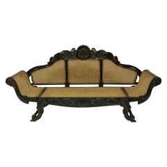 Large 19th Century Anglo-Ceylonese Settee in Solid Ebony
