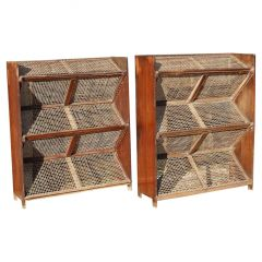 Pair of Teak and Cane Magazine Racks by Pierre Jeanneret for Chandigarh, India