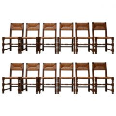 Set of Twelve Mid-Century French Rush Dining Chairs '12'