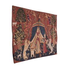 Petite Vintage Tapestry, French, Hanging Needlepoint, The Lady and The Unicorn