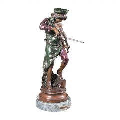 Tall Vintage Violinist Statue, Continental, Bronze, Male Figure, After Gaudez