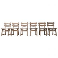 Set of Six Brutalist Mid-Century Oak Dining Chairs '6'
