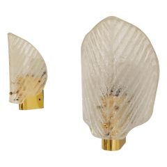Mid Century Glass Wall Lamps, 1960s