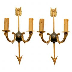Mid-Century Modern Maison Bagues Style Wall Sconces Arrow and Rams Head Design