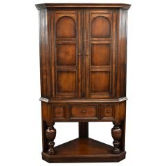 20th Century Antique English Jacobean Style Corner Cabinet by Liberty & Co.