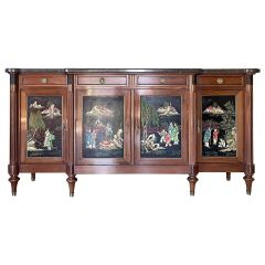 French Chinoiserie Enfilade in Walnut and Marble
