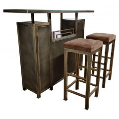 Vintage Bar with Stools by Maison Jansen, 1970s