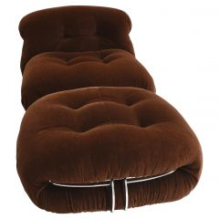 Soriana Chair and Pouf by Tobia Scarpa for Cassina in Original Mohair, 1970s