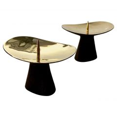 Pair of Carl Auböck Patinated Brass Candle Holders