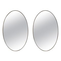 Large Pair of Brass Oval Mirror