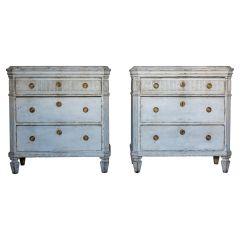 Pair Swedish Gustavian Painted Chest of Drawers Commode Tallboy Grey White