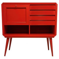 Italian Midcentury Scarlet Lacquered Bar Cabinet