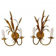 Vintage Gilt Metal Sheaf of Wheat Wall Lamps, 1960s