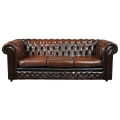 20th Century Brown Leather Buttoned Back Chesterfield