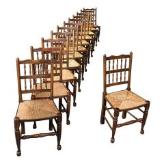 Set Of 12, Antique Lancashire Chairs, Beech, Spindle Back, Seat, Edwardian, 1910