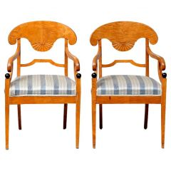 Swedish Biedermeier Carver Chairs Late 1800s Antique Honey Quilted Golden Birch