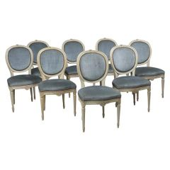 Swedish Gustavian Round Back Upholstered Dining Chairs Set of 8, Early 1900s