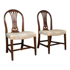 Pair of, Antique Hepplewhite Revival Side Chairs, English, Seat, Victorian, 1890