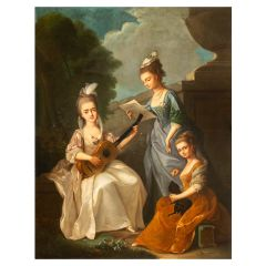 Italian Rococo Oil on Canvas Portrait Painting Young Ladies in Garden Landscape