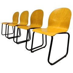 Vintage Plywood Dining Chairs, 1970s, Set of 4