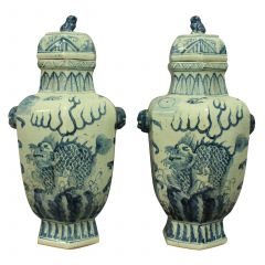 Pair of Large Chinese Blue and White Vases with Covers