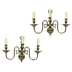 Pair of English Silver Plated Wall Lights