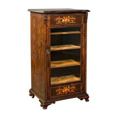 Antique Music Cabinet, English, Rosewood, Display Case, Inlay, Victorian, C.1870