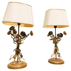 Vintage Floral Table Lamps, Set of 2, 1960s