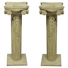 Pair of Midcentury Travertine Marble Column Pedestals