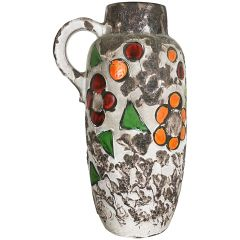 Large Pottery Fat Lava Multicolor 420-54 Vase Made by Scheurich, 1970s