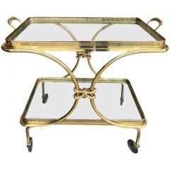 1950s Brass Rope-Tie Detail Bar Trolley