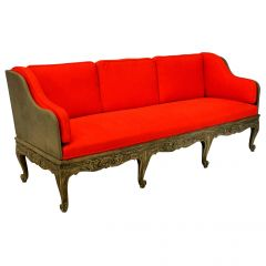 Large Swedish Carved and Painted Daybed or Settee with Removable Back