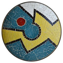 Charger & Wall Plate in Brass with Colorful Mosaic Pattern