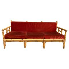 Mid-Century Modern Italian Bamboo Sofa with Its Cushions from Vivai del Sud