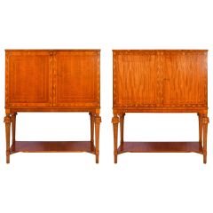 Pair of 1940s Swedish Modern Mahogany Cabinets on Stand