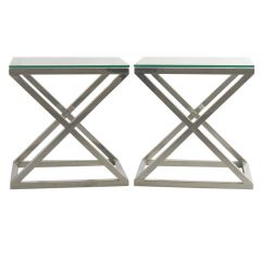 Italian Chrome X-Frame Side Tables