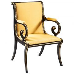 Regency Ebonised And Brass Desk Armchair