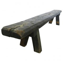 Midcentury Brutalist Bench Primitive Rustic French Craftsman One of a Kind
