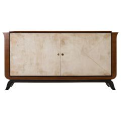 Art Deco French Mahogany and Velum Sideboard