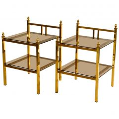 1970s Pair of French Brass Side Tables or Bed Side Tables with Glass Shelves