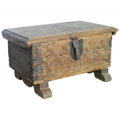 Small Gothic Chest Carved Oak French Provincial Antique Bible or Strong Box