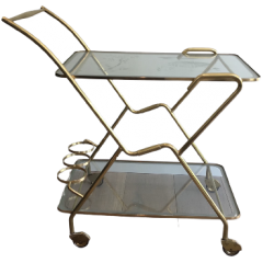 BRASS AND ENGRAVED GLASS DRINKS TROLLEY