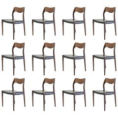 1960s Niels Otto Møller Twelve Refinished Teak Dining Chairs, Inc. Reupholstery