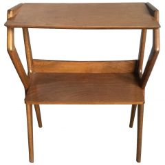 Italian Oak Wood Console Table with Shelves from 1950s